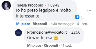 commenti facebook su legal pro